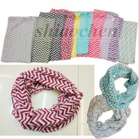 chevron scarves - Women Voile Chevron Wave Scarf Circle Loop Cowl Infinity Scarves Fashion Neckerchief Neck Shawl Wrap collar Zigzag HeadScarf Sarong A773