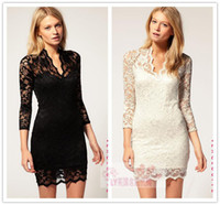 Wholesale Sexy Girls Mini Clothes - online wholesale womens girls dresses clothing women Dress 026 formal dresses for girls Slim lace V-neck wave Sexy nightclub Sexy nightclub