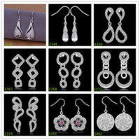 Wholesale New arrival pairs diffrent style women s silver earring GTE34 high grade fashion sterling silver Dangle Chandelier earrings