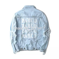Wholesale Fall Kanye West Pablo Denim Jackets Men Hip Hop Yeezus Tour Brand Clothing Streetwear Jeans Jackets I Feel Like Kanye