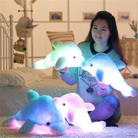 Wholesale cm Luminous Plush Stuffed Flashing Colorful Dolphin Doll Toy Cushion Pillow With LED Light Inside For Party Birthday Gift