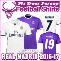 Wholesale 2016 Real Madrides home away purple New font RONALDO JAMES BALE