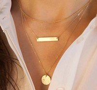 bar pendants - Fashion Simple Bar pendant Necklace Gold Plated Multilayer Vintage Jewelry Statement Round Metal Necklace for Women Jewelry HOT Selling