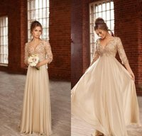 Wholesale Champagne Empire Prom Dresses Deep V Neck Long Sleeves A Line Evening Dress Pearls Beading Lace Applique Chiffon Party Gowns