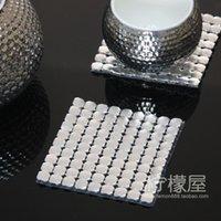 aluminum coasters - 8mm metal mat large silver aluminum coasters pad cover Hotel KVT Club ashtray with pad