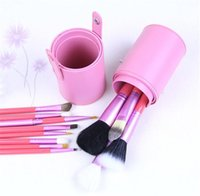 Wholesale 2016 Promotion Direct Selling Nylon Maquiagem Professional Makeup Brush Set Cosmetic Make Up Brushes with Pu Storage Bucket Cylinder