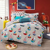 anchor shade - various little boats cartoon style bedding sets anchors shading cotton linens quilt cover set Queen Double size bedspread sets