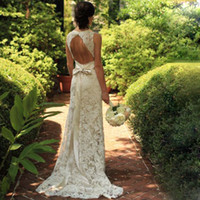 Wholesale Color Sheath Dress - Lace Bohemian Wedding Dresses Plunging Neckline Sheath Bodice Sexy Backless Beach Rustic Country Western Bride Dresses with Detachable Belt