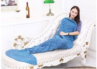 Wholesale LAGHCAT Scales Model Mermaid Tail Blanket Crochet Super Soft All Seasons Sleeping Blankets quot x37 quot quot x27 quot Blue