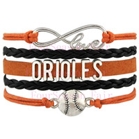 baltimore orioles gifts - Custom Infinity Love Baltimore Orioles Baseball Sport MLB Team Bracelet Wax Cords Leather Wrapped Adjustable Bracelet Bangles Drop Shipping