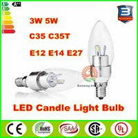 Wholesale Led Candelabras E14 E12 E27 W W C35 C35T led light bulbs chandelier cheapest degree emitting lamps