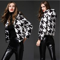 Wholesale 2016 Women Autumn Winter New Famous Brand Slim Thin Down Jacket Female Houndstooth Coat Plus Size White Duck Down