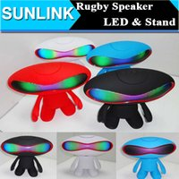 portable laptop computer stand - Bluetooth Speaker Wireless Portable LED Light Rugby Football Style Laptop Mini Subwoofer Outdoor Amplifier Hifi Speakers With Dude Stand