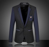 Wholesale Mens Blazer Plus Size XL XL XL Men s Casual Blazer White Yellow Polka Dot Patchwork Blazer Masculino Mens Blazer