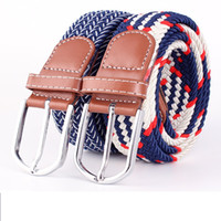 elastic stretch belt - hot sale high quality men elastic belt fashion casual designer stretch braided Ladies pu canvas belt