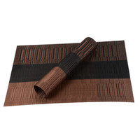 bamboo dining table set - Set of PVC Bamboo Plastic Placemats for Dining Table Runner Linens placemat in Kitchen Accessories Cup Wine mat