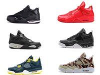 Wholesale Shinny Fabric - Retro IV 4 Shinny 11LAB4 mens basketball shoes LS Oreo jump mans footwear Premium Snakeskin sneaker 4s black red