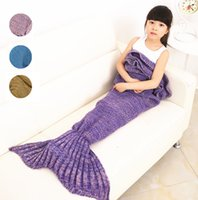 Wholesale 4 Colors Knitted Mermaid Tail Blanket Handmade Children Mermaid Blanket Throw Bed Wrap Super Soft Children Swaddle Sleeping Blanket