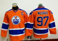 Wholesale New Kids Hockey Jerseys Oilers McDavid Jersey C Patch Orange Color Youth Jersey Size S M L XL Mix Order Stitched All Jerseys