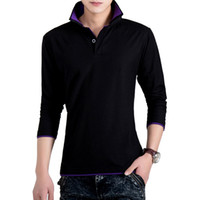 Wholesale Solid Polos Shirt For Men Double Collar Long Sleeve Polos Slim Fit Breathable Classic Casual Polo Homme Sportwear Black White
