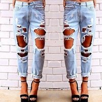 Wholesale New Fashion women jeans woman Light Blue Solid Novelty Skinny Full length ripped jeans Hot Sale