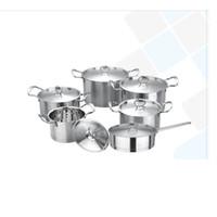 Wholesale 12 Cookware Set Family Kitchen Ware Set Tirclad Bottom cm Milk Pot cm Sauce Pot cm Stock Pot cm Pan Metal Cover