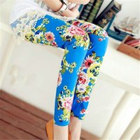 Wholesale Kids Tights Girls Leggings leggins Baby Tight Pants Girl legging Spring Autumn Fall Flower Printed Children Clothes Clothing Colors
