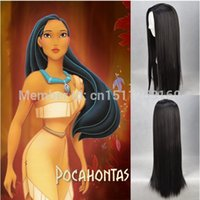 Wholesale High quality Pocahontas Cosplay wig black cm