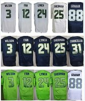 Wholesale Seahawk Russell Wilson Marshawn Lynch Thomas Rawls Richard Sherman Kam Chancellor blue green white size small S XL Cheap