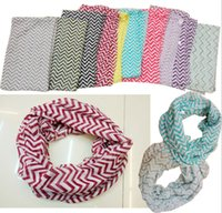 Wholesale 21 color Chevron Wave Print Scarf Circle Loop Cowl Infinity Scarves Ladies Scarves Voile Multi color printing woven scarf