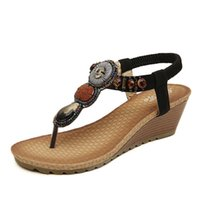 Wholesale Bohemia Folk Style Shoes Wedges Trade Sandals Handmade Beaded Sandals One Generation High Quality Hot Sale