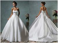 Wholesale Amelia Sposa Simple Crystals Waist Ball Gown Wedding Dresses Vestidos De Noiva Off Shoulder Satin Cheap Bridal Gowns Plus Size