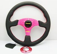 automobile horns - New arrival Universal mm Inch Car Auto Momo Modified Genuine Leather Automobile Race Steering Wheel with Horn Button