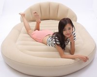 flocked inflatable sofa bed - Outdoor Bedroom Brown Ultra Double Daybed Lounger Airbed Inflatable Pull Out Sofa Couch Air Bed Mattress Sleeper FLOCKED