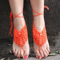 Wholesale 2016 New Fashion Lady Hand Made Crochet Barefoot Sandals Wedding Anklets Dance Yoga Beach Anklets Shoes