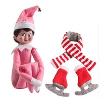 Wholesale DHL cute toy put on Shelf Plush Dolls Boy Girl Figure Christmas Dolls Novelty Toy with scarf and shoes Kid Xmas Gift Red Green Pink