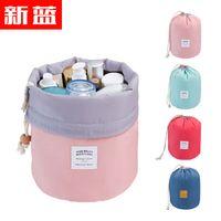 Wholesale 2016 New Multifunction Travel storage bag Waterproof Nylon Barrel Shaped Travel Cosmetic Bag High capacity Drawstring Elegant Drum Wash Bags