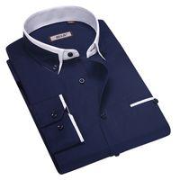 Wholesale New Brand Men Shirt Male Dress Shirts Men s Fashion Casual Long Sleeve Business Formal Shirt camisa social masculina