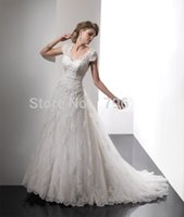 bead making materials - Vestido De Noiva Romantic Lace Material Embroidered new A line Wedding Dresses court train wedding dress with Short Sleeve