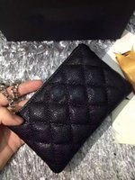 Wholesale classic black caviar quilted key card case wallet female lambskin small chain case holder gold silver hardware