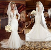 Wholesale Stunning White Plus Size Wedding Dresses Long Sleeve V neck Ruffles Mermaid Trumpet Backless Tulle Cheap Bridal Gowns