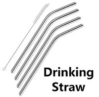 Wholesale 304 Stainless Steel Drinking Straw Metal Straw Beer Juice Straws Cleaning Brush Fits Yeti Cups oz oz oz