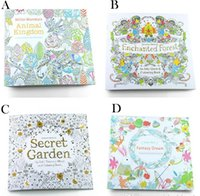 Wholesale 4 styles New Secret garden adult English decompression hand painted color in coloring book Enchanted forest children painting books