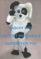 Wholesale Black White Spot dog Mascot Costume Adult Size Cartoon Character Plush Mascotte Outfit Suit Fancy Dress SW724