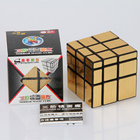 Wholesale Gold silver x3x3 mm Wire Drawing Style Cast Coated Magic Cube Challenge Gifts Puzzle Mirror Cubes Educational Toy Special
