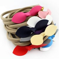 Wholesale 12colors quot Mini Glitter Leather Bow Nylon Headband Leather Bows Baby Headbands Girls And Kids Nylon Hair Accessories