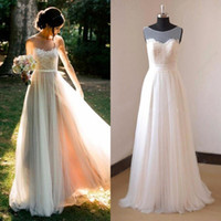 Wholesale Under Cheap White Ivory Lace Boho Wedding Dresses Summer Beach Sheer Bateau A Line Backless Long Bohemian Bridal Gowns CPS413