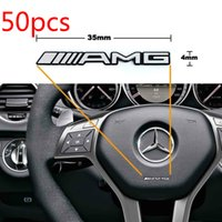 alloy mercedes - 50 ALUMINIUM AMG Steering Wheel Sticker Badge Logo Emblem NEW Mercedes Benz Alloy