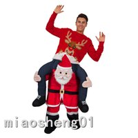 Wholesale 2016 Funny Carry Me Santa Claus Mascot Costume Ride On Fancy Dress Red Santa Claus Party Clothing Novelty Christmas Costumes