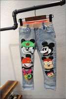 Cheap 2016 New Girl Jeans minnie mouse Cartoon Denim Pencil Pants Long Trousers For Girl Children Clothes 2-7T K001